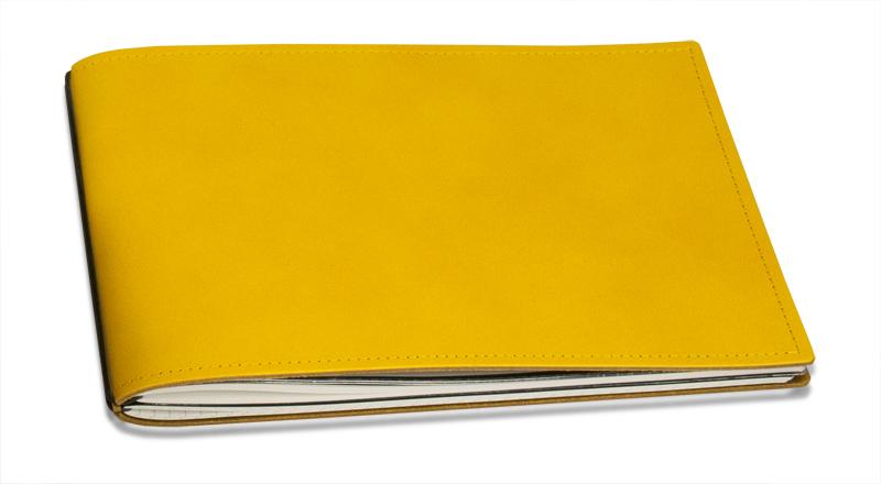 A5+ Quer 1er Leder glatt gelb