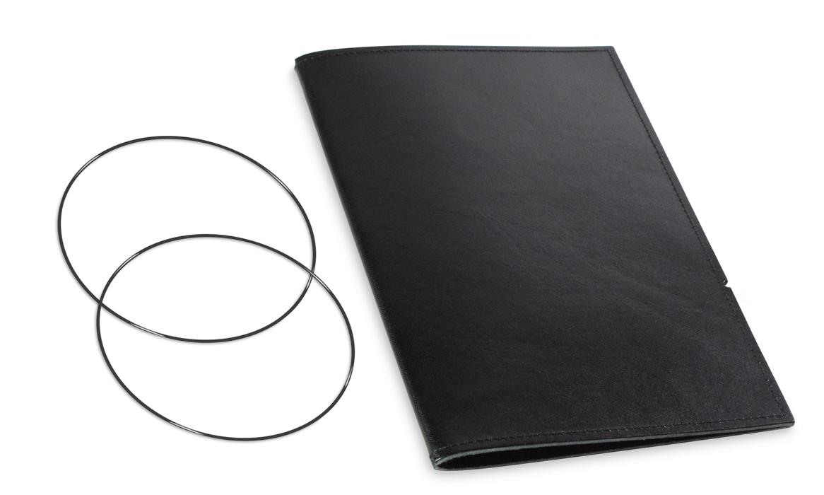 A5 Hülle 1er Leder glatt schwarz inkl. ElastiXs