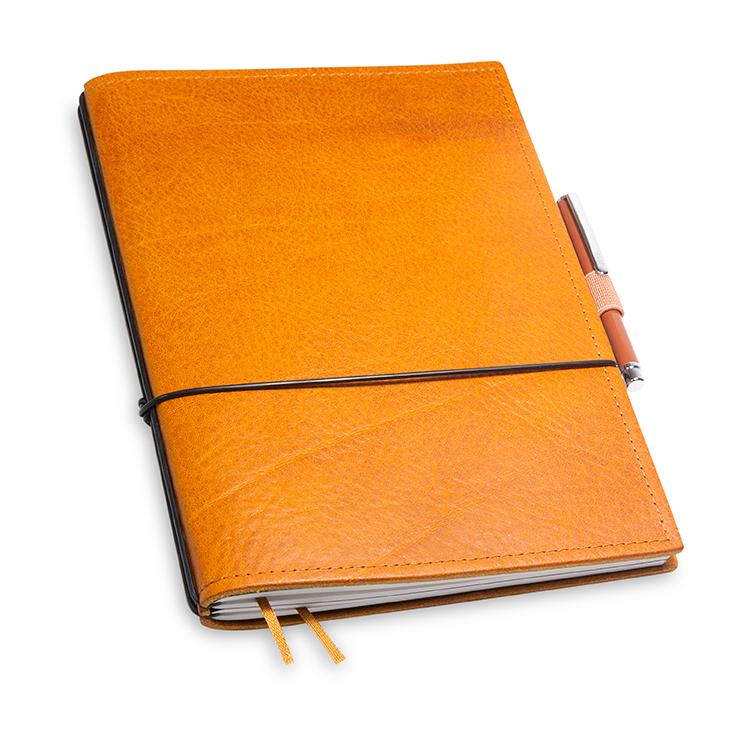 A5 2er Notizbuch Leder natur cognac in der BOX