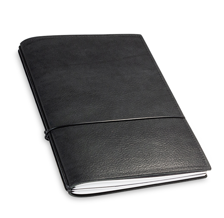 A5 2er Notizbuch Leder natur schwarz, Notizenmix