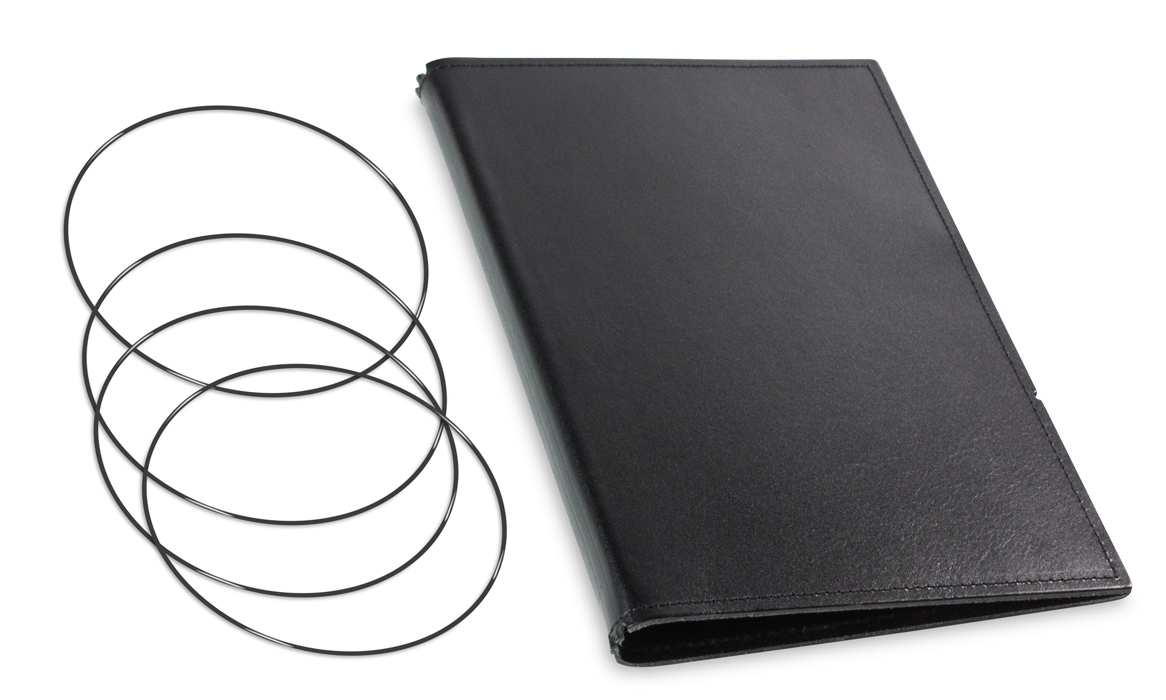 A5 Hülle 3er Leder glatt schwarz inkl. ElastiXs