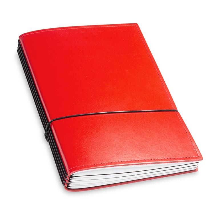 A5 4er Notizbuch Leder glatt rot, Notizenmix