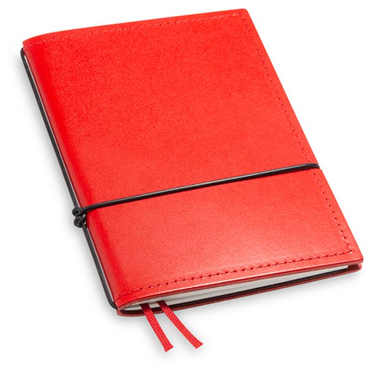 A6 1er Leder glatt rot mit Notizenmix