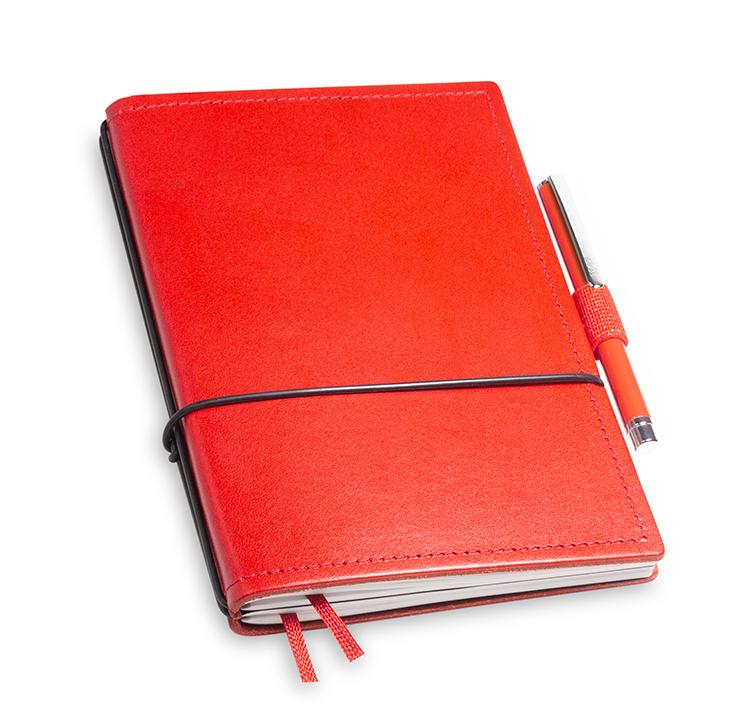 A6 2er Notizbuch Leder glatt rot in der BOX
