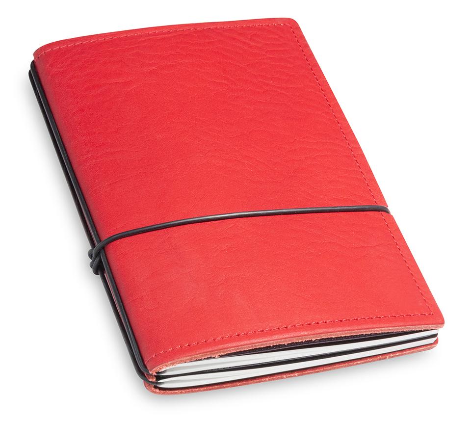 A6 2er Leder natur rot mit Notizenmix und Doppeltasche