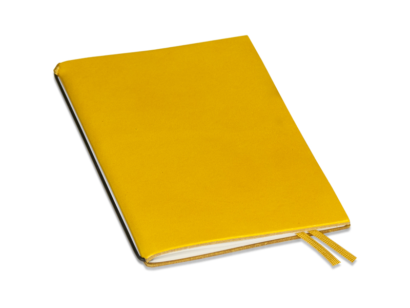 A6 1er Leder glatt gelb mit Notizenmix