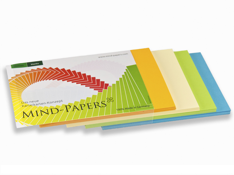 DIN A5 Mind-Papers Nachfüllpack, 100 Karteikarten sortiert, Farbe: blau, grün, hellgelb, orange