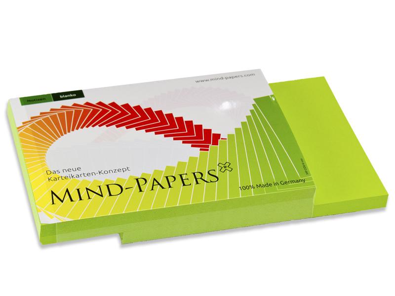 DIN A6 Mind-Papers Nachfüllpack, 100 Karteikarten, Farbe: grün