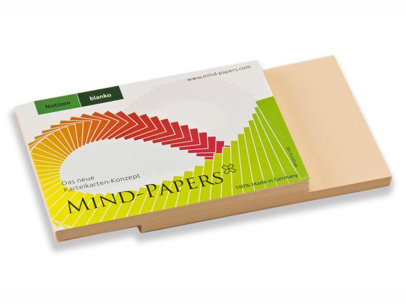 DIN A7 Mind-Papers Nachfüllpack, 100 Karteikarten, Farbe: lachs