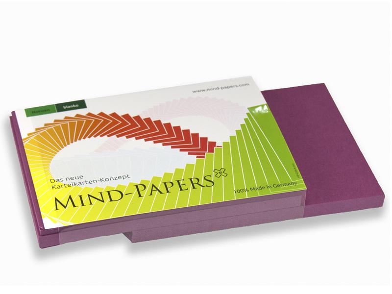 DIN A6 Mind-Papers Nachfüllpack, 100 Karteikarten, Farbe: beere