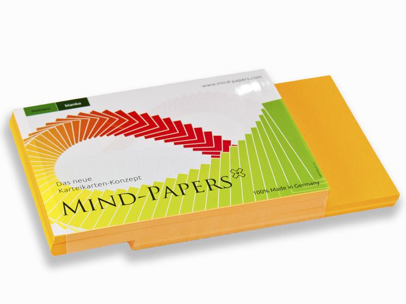 DIN A6 Mind-Papers Nachfüllpack, 100 Karteikarten, Farbe: orange