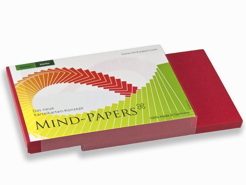 DIN A6 Mind-Papers Nachfüllpack, 100 Karteikarten, Farbe: rot