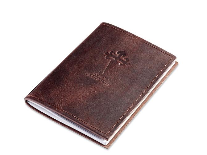 A6 1er Leder natur kastanie Pilger-Tagebuch, 1 Einlage