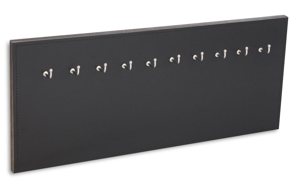 X17 Schlüsselbrett 10er Leder glatt schwarz mit Ziernaht