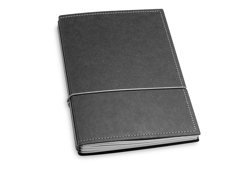 A5 3er Notizbuch Texon schwarz / grau, Notizenmix
