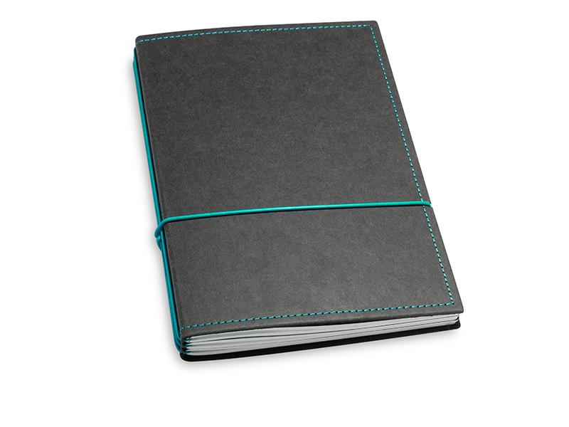 A5 3er Notizbuch Texon schwarz / türkisgrün, Notizenmix