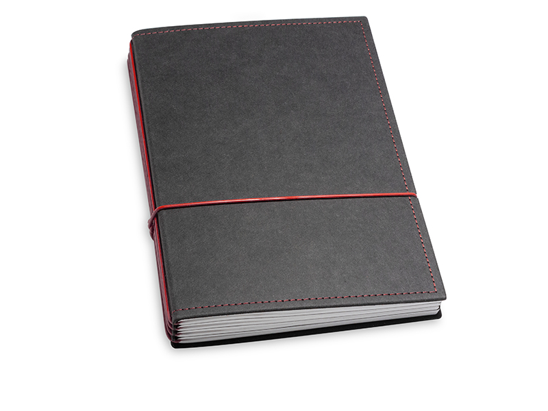 A5 4er Notizbuch Texon schwarz / rot, Notizenmix